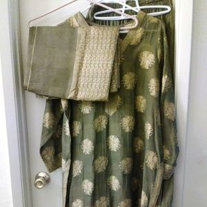 Homemade Brown & Tan Women's M Long Shalwar Kameez